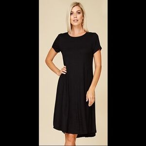 Annabelle Dresses - Short Sleeve Navy Knit Dress. S, M, L